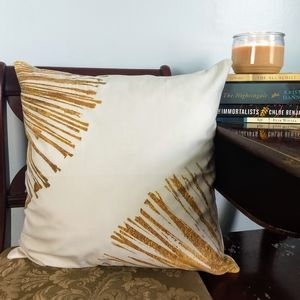 Soft Gold Stripe Printed Throw Pillow w/ Insert